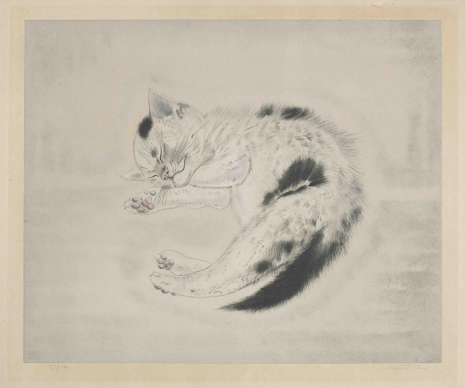 Tsuguharu Foujita-Sleeping Cat, from Les Chats (Buisson 29.200.10)-1930