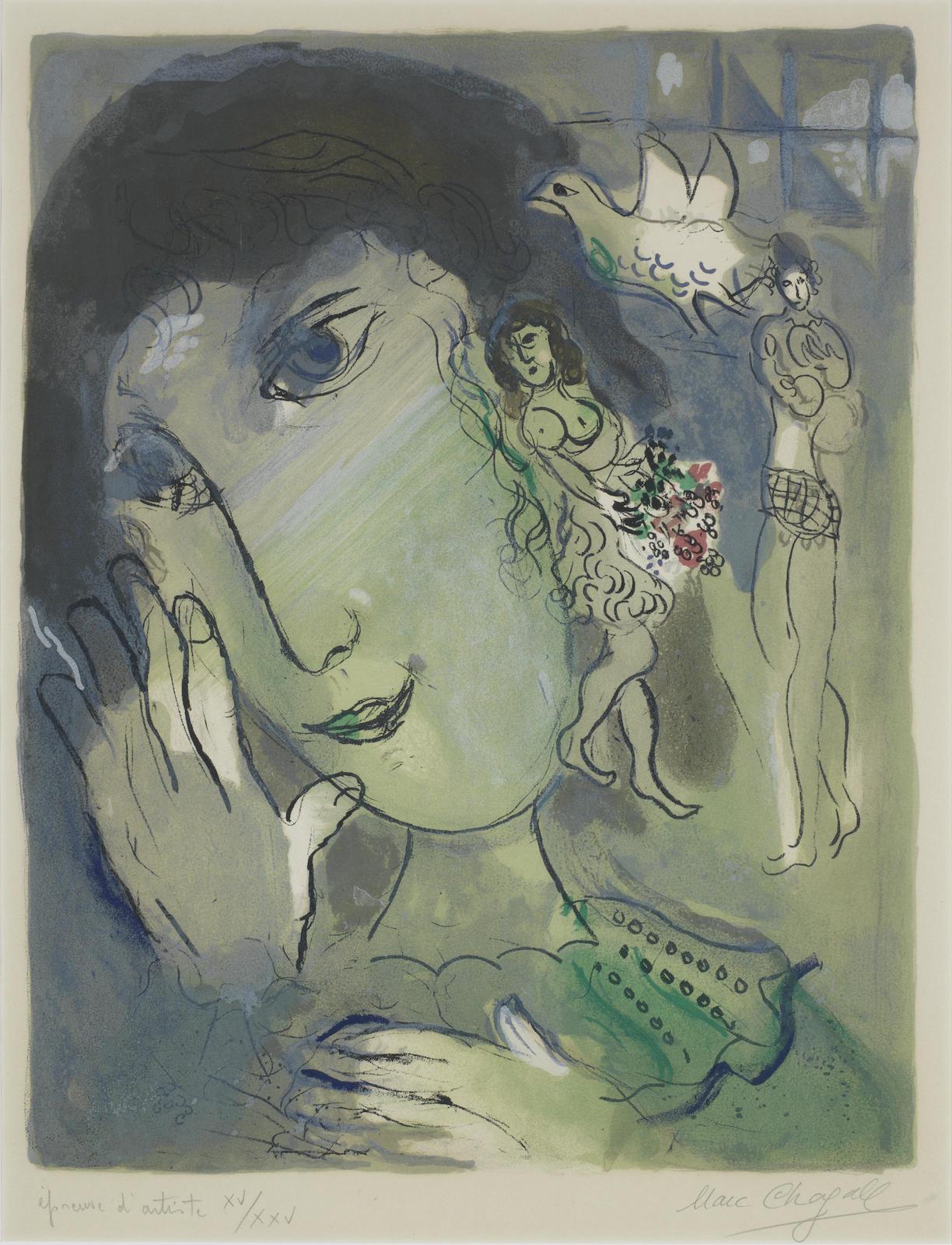 Marc Chagall-Le Poete (Mourlot 442)-1966