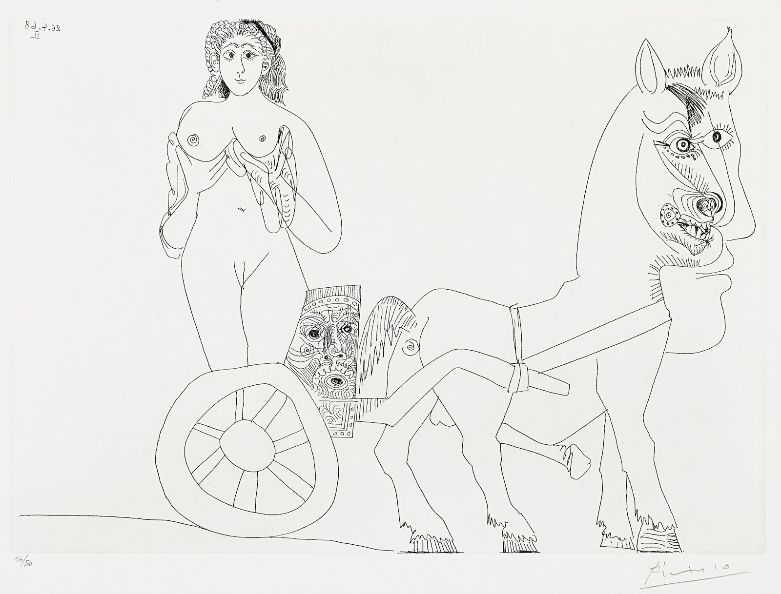 Pablo Picasso-Femme sur un char romain, from La Serie 347 (Bloch 1533; Baer 1549.Bb1)-1968