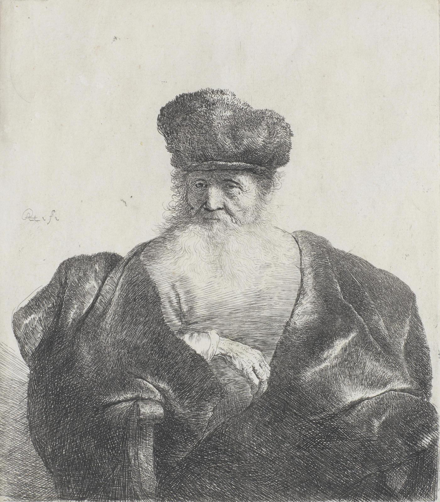 Rembrandt van Rijn-Old Man with Beard, Fur Cap and Velvet Cloak (Bartsch 262; New Hollstein 92)-1631