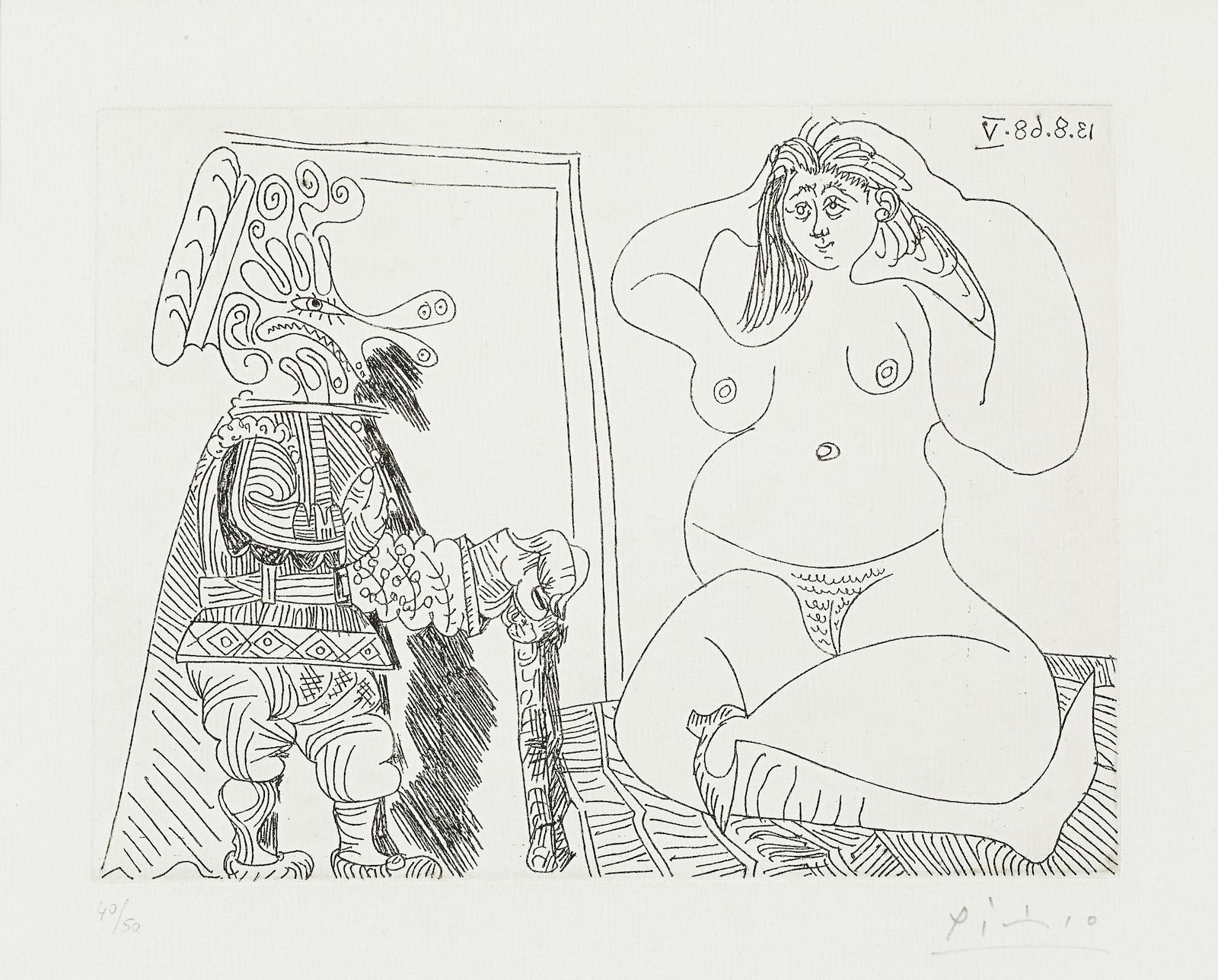 Pablo Picasso-Femme Nue Assise en tailleur et Grotesque la main sur le coeur, from La Serie 347 (Bloch 1757; Baer 1773.Bb1)-1968