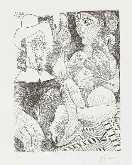 Pablo Picasso-Femme a sa Toilette et Homme au Chapeau Rembranesque, from La Serie 347 (Bloch 1738; Baer 1755.Bb1)-1968