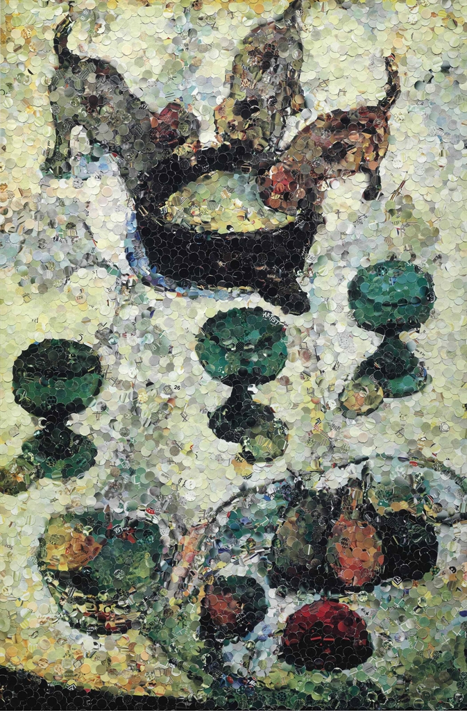 Vik Muniz-Still Life with Three Puppies, after Gauguin (From Pictures of Magazines)-2004
