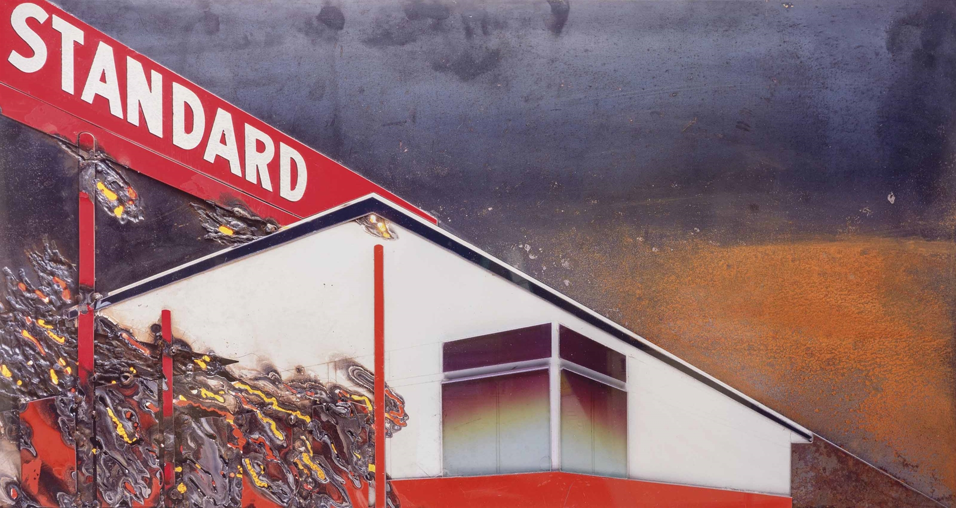 Vik Muniz-Burning Standard, After Ed Ruscha (Pictures of Cars)-2008