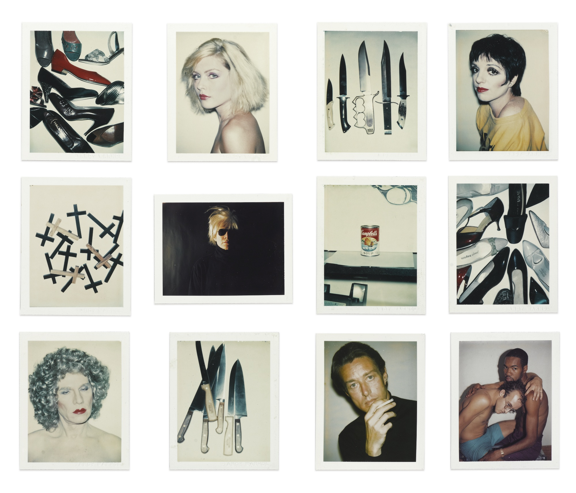 Andy Warhol-I. Shoes; II. Debbie Harry; III. Knives; IV. Liza Minelli; V. Crosses; VI. Self-Portrait With Fright Wig; VII. Campbell's Wonton Soup; VIII. Shoes; IX. Self-Portrait In Drag; X. Knives; XI. Halston; XII. Keith Haring And Juan Dubose[Twelve Works]-1986