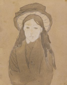 Gwen John-Little Girl With Large Straw Hat-1919