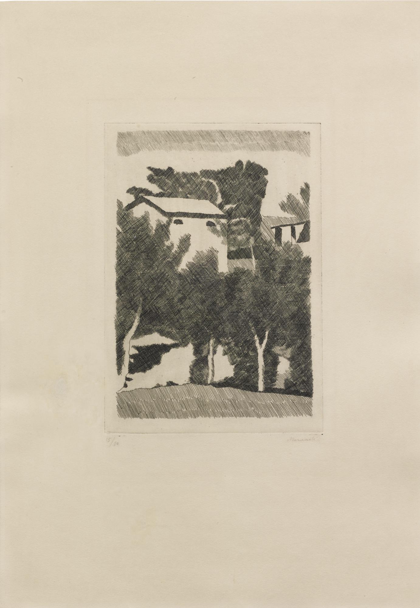Giorgio Morandi-Paesaggio Con Tre Alberi-1933