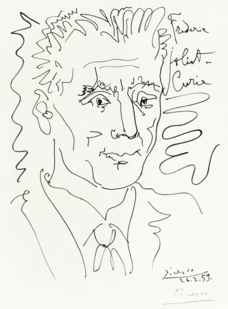 Pablo Picasso-After Pablo Picasso - Portrait of Frederic Joliot-Curie-1959