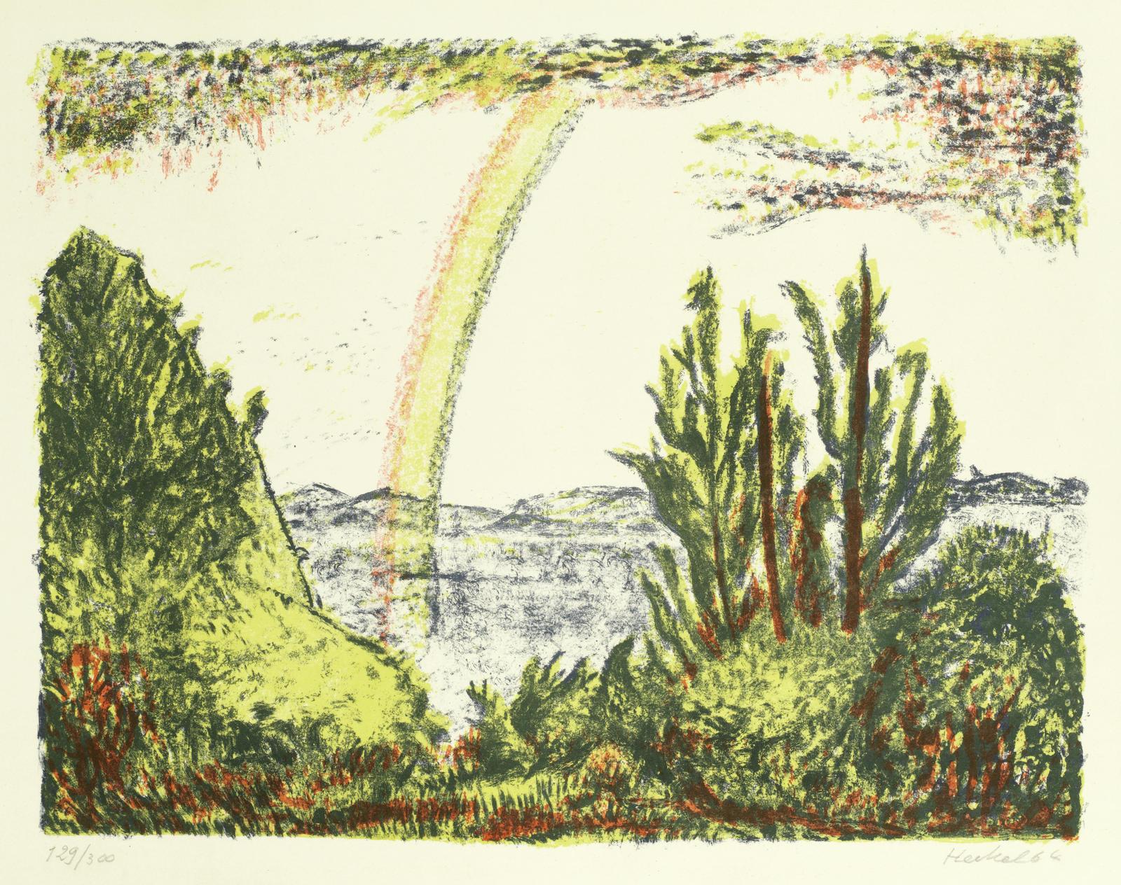 Erich Heckel-Landschaft mit Regenbogen (Dube 378)-1964