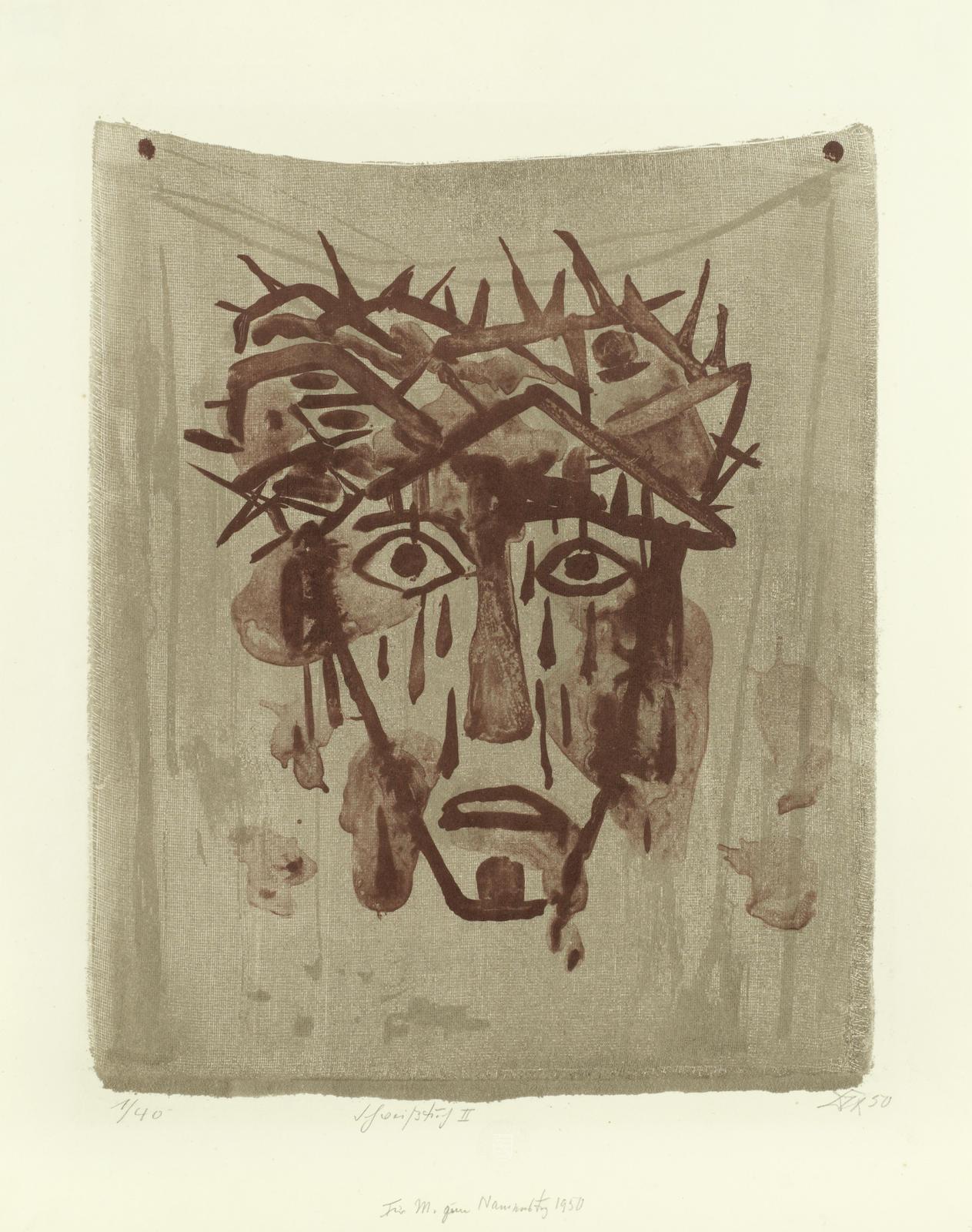 Otto Dix-Schweisstuch II (Mund geoffnet)-1950