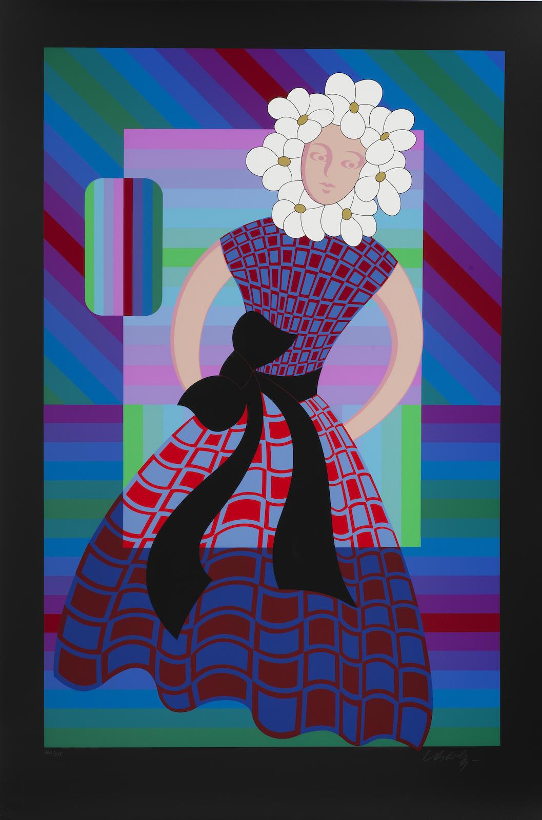Victor Vasarely-Flower Girl; Gaia II-1986