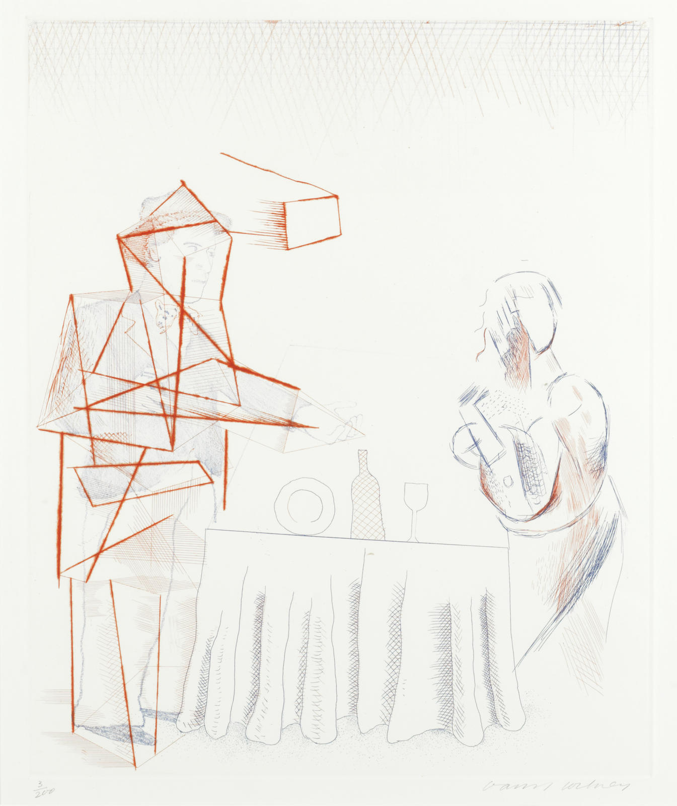 David Hockney-Figures with Still Life, from 'The Blue Guitar' (Scottish Art Council 208; MCA Tokyo 187)-1977