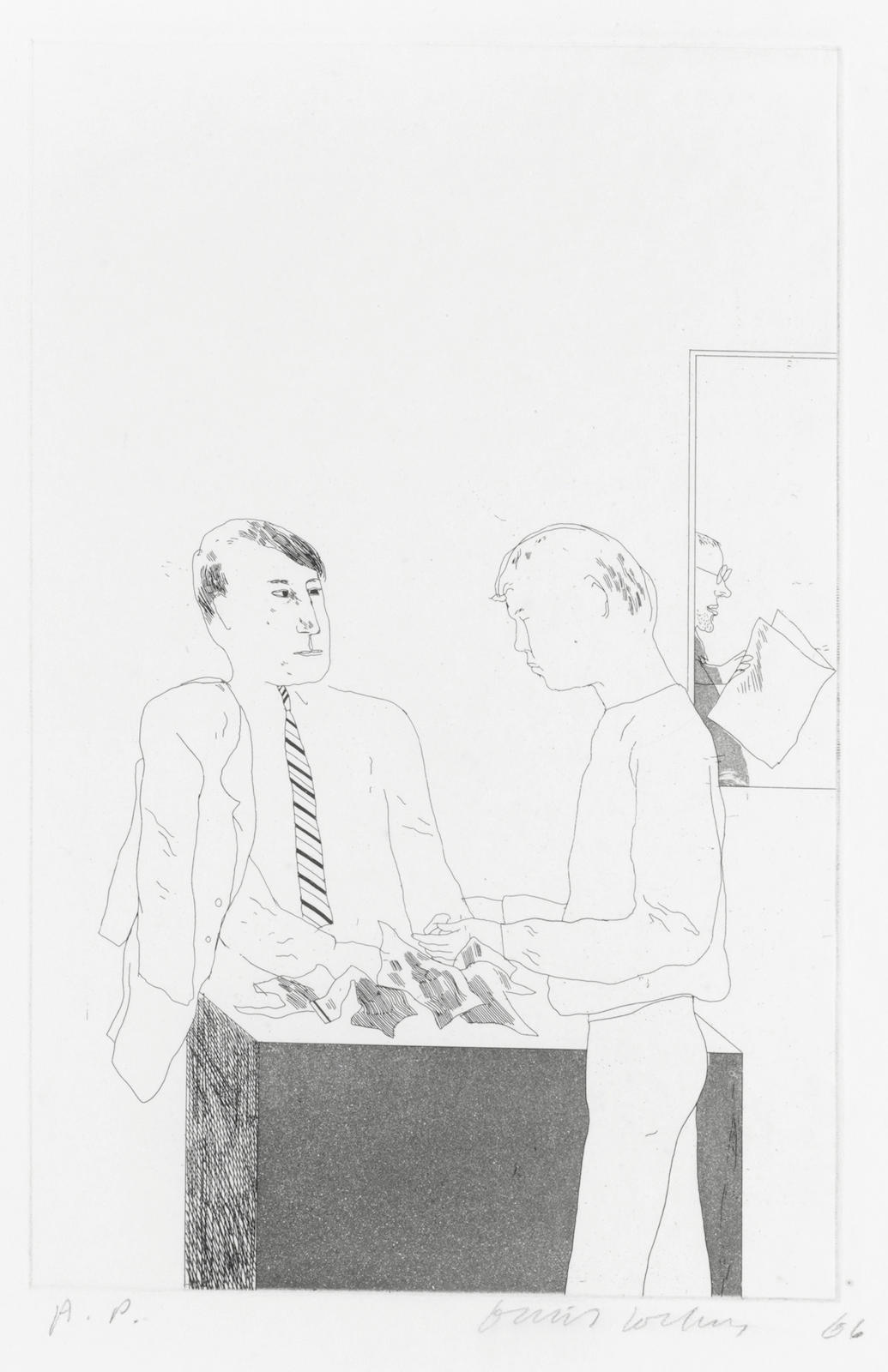 David Hockney-He enquired after the quality, from 'Illustrations for Fourteen Poems from C.P. Cavafy' (Scottish Art Council 49)-1966