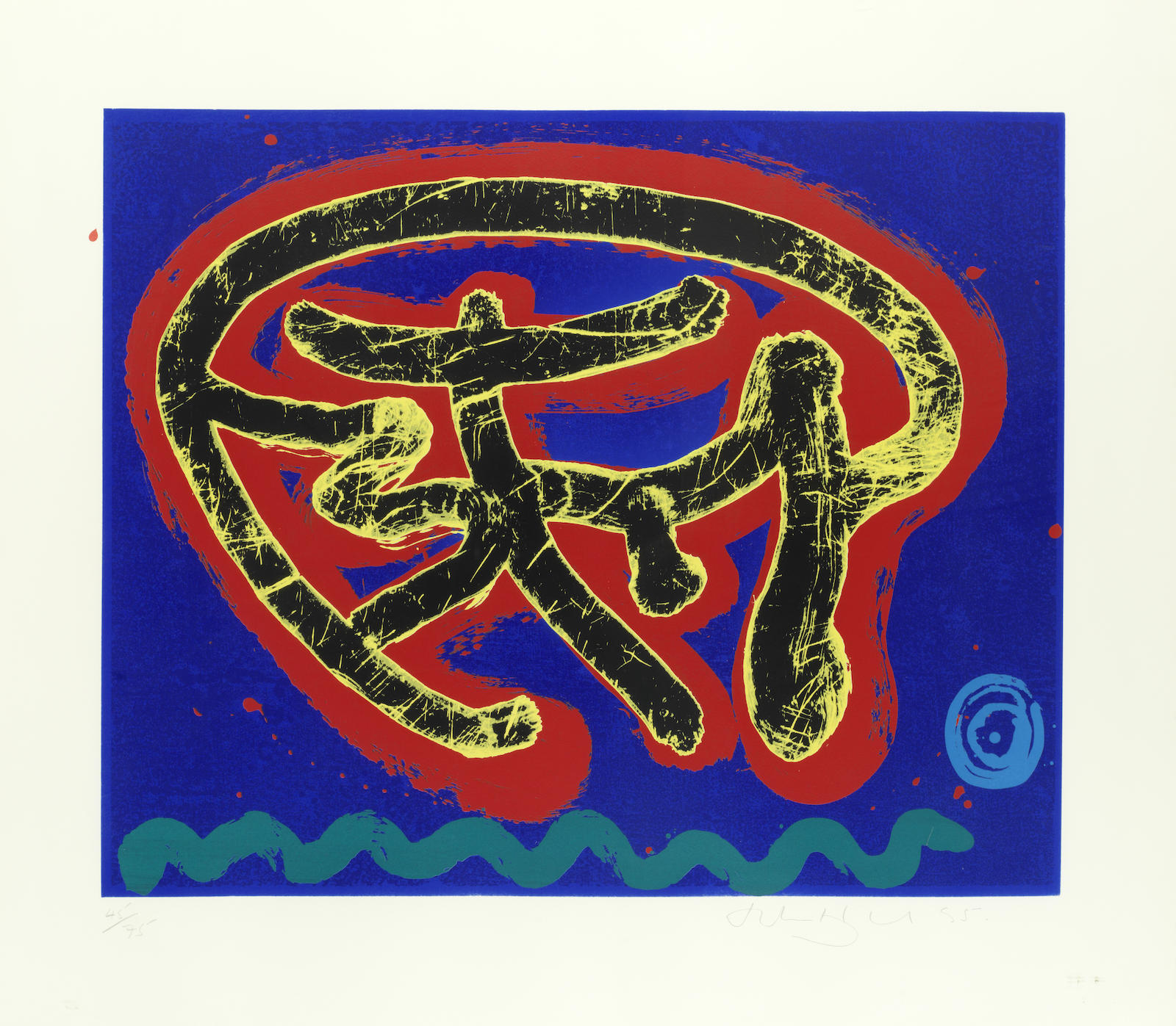 John Hoyland-'Wonderer' (Black Swirl on Red and Blue; Black Swirl on Green and Red)-1995