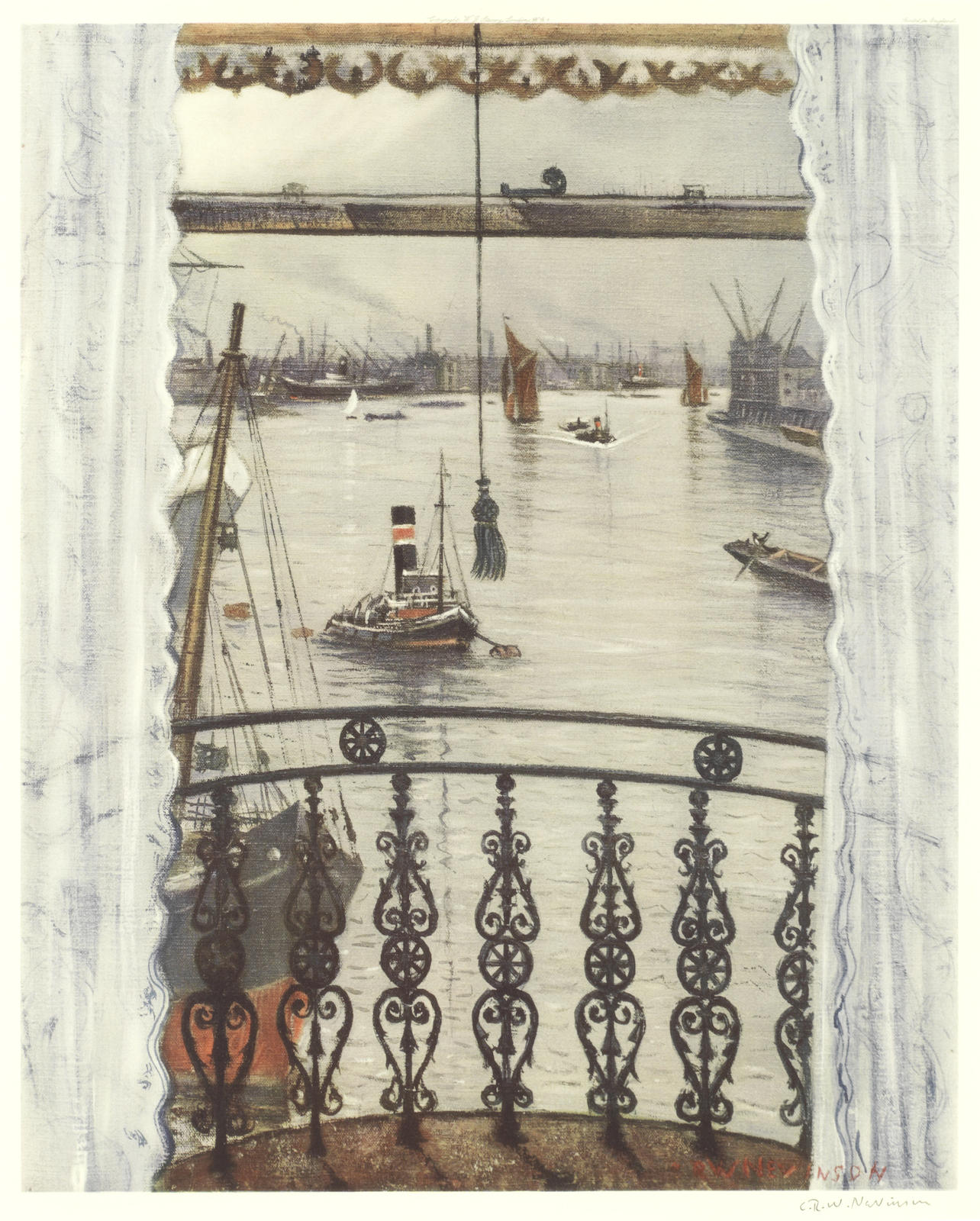 Christopher R. W. Nevinson-After Christopher Richard Wynne Nevinson - Greenwich Reach-