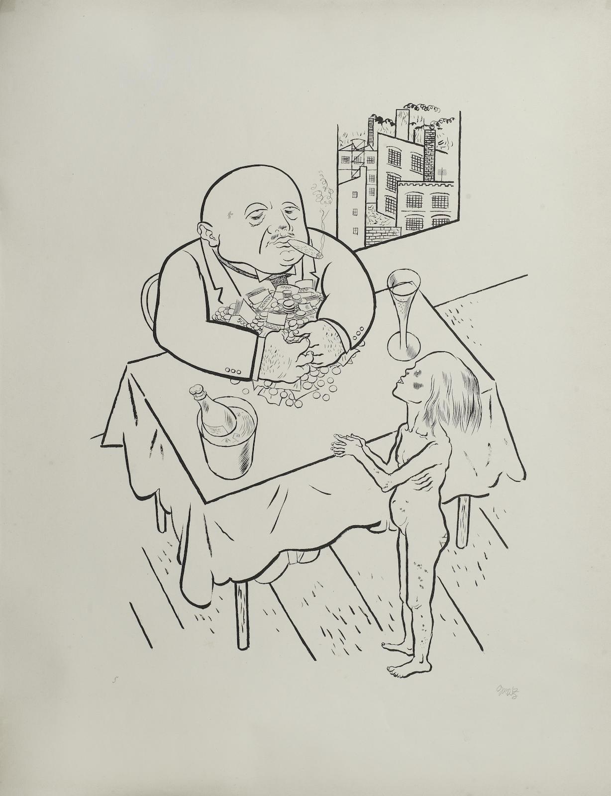 George Grosz-Lowen und Leoparden futtern ihre Jungen, from 'Die Rauber'-1922