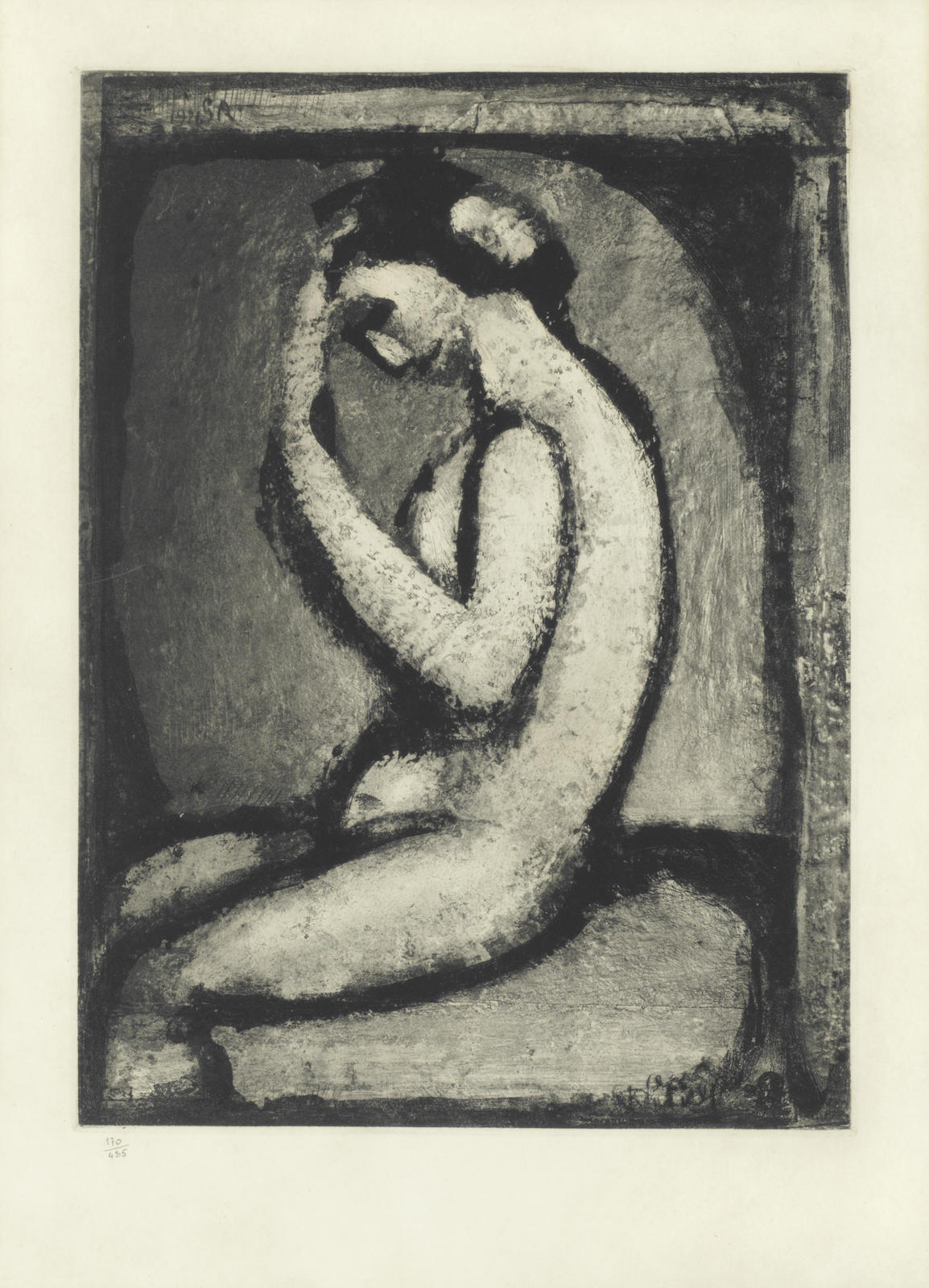 Georges Rouault-Nu de profil, Plate V, from 'Quatorze Planches Gravees pour Les Fleurs du Mal' (Chapon 218c)-1966
