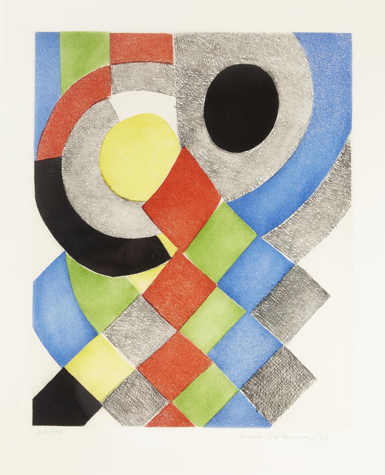 Sonia Delaunay-Losanges et Demi-Cercles-1970