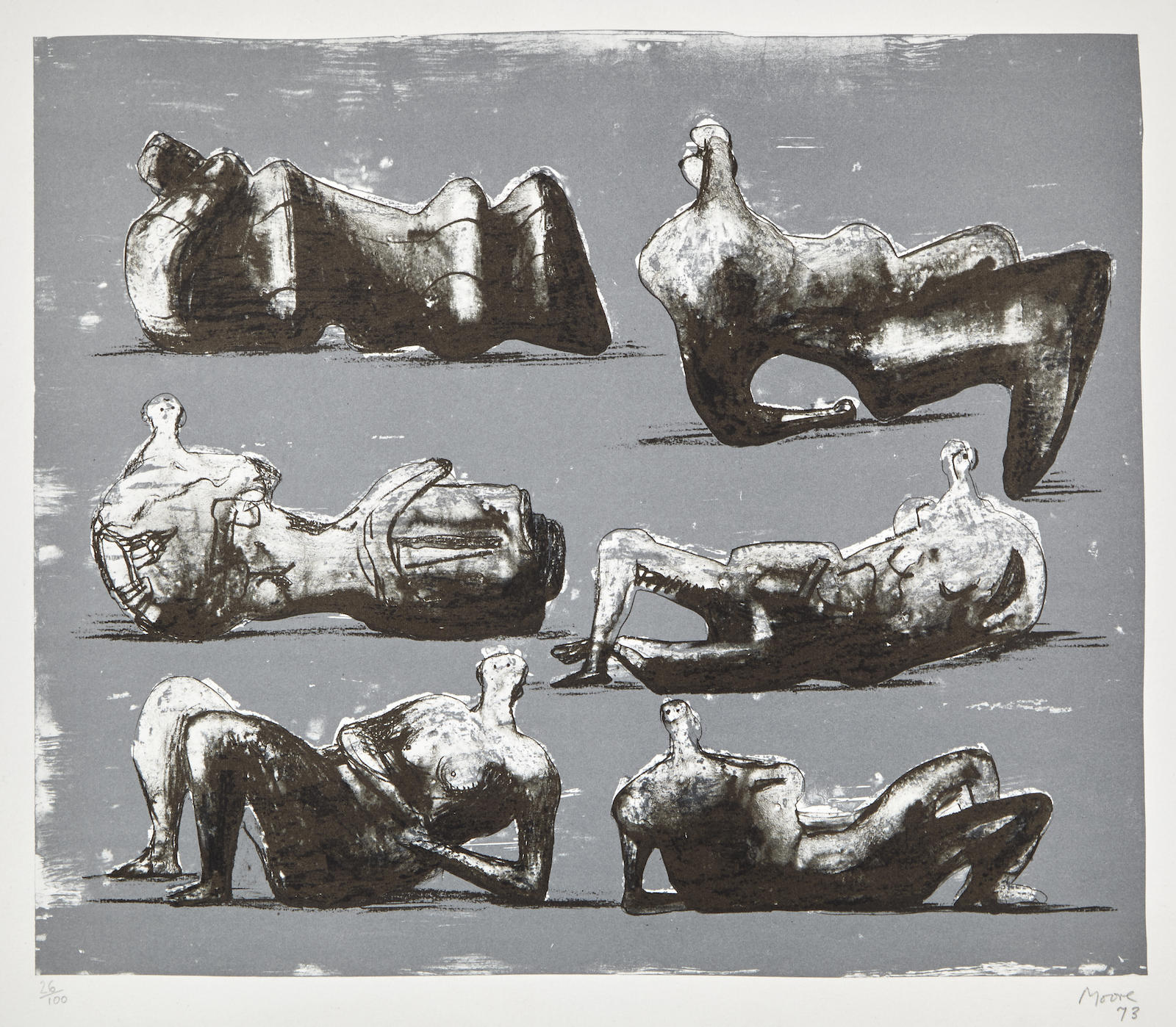 Henry Moore-Six Reclining Figures (C. 298)-1973