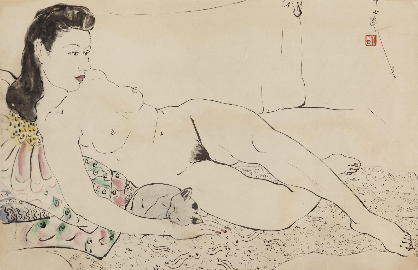 Pan Yuliang-Nude with a Cat, 1943-1943