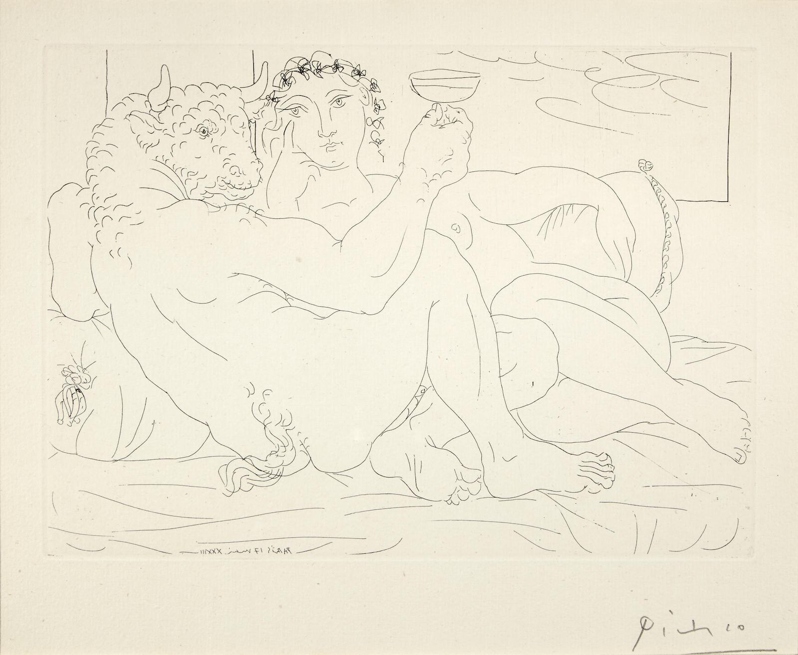 Pablo Picasso-Minotaure, une coupe a la main, et jeune femme, pl. 83, from La Suite Vollard (B. 190; Ba. 349)-1933