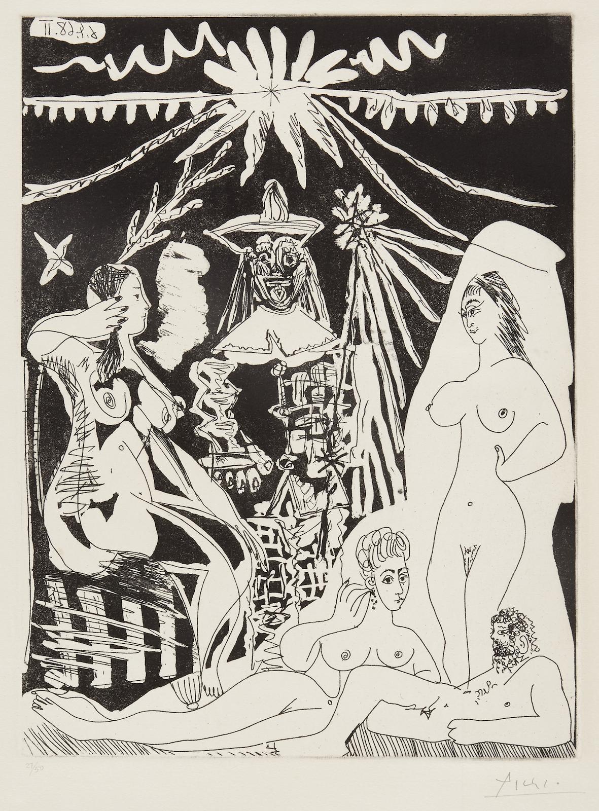 Pablo Picasso-Homme allonge, avec deux Femmes, pl. 18, from La Series 347 (B. 1498; Ba. 1514)-1968
