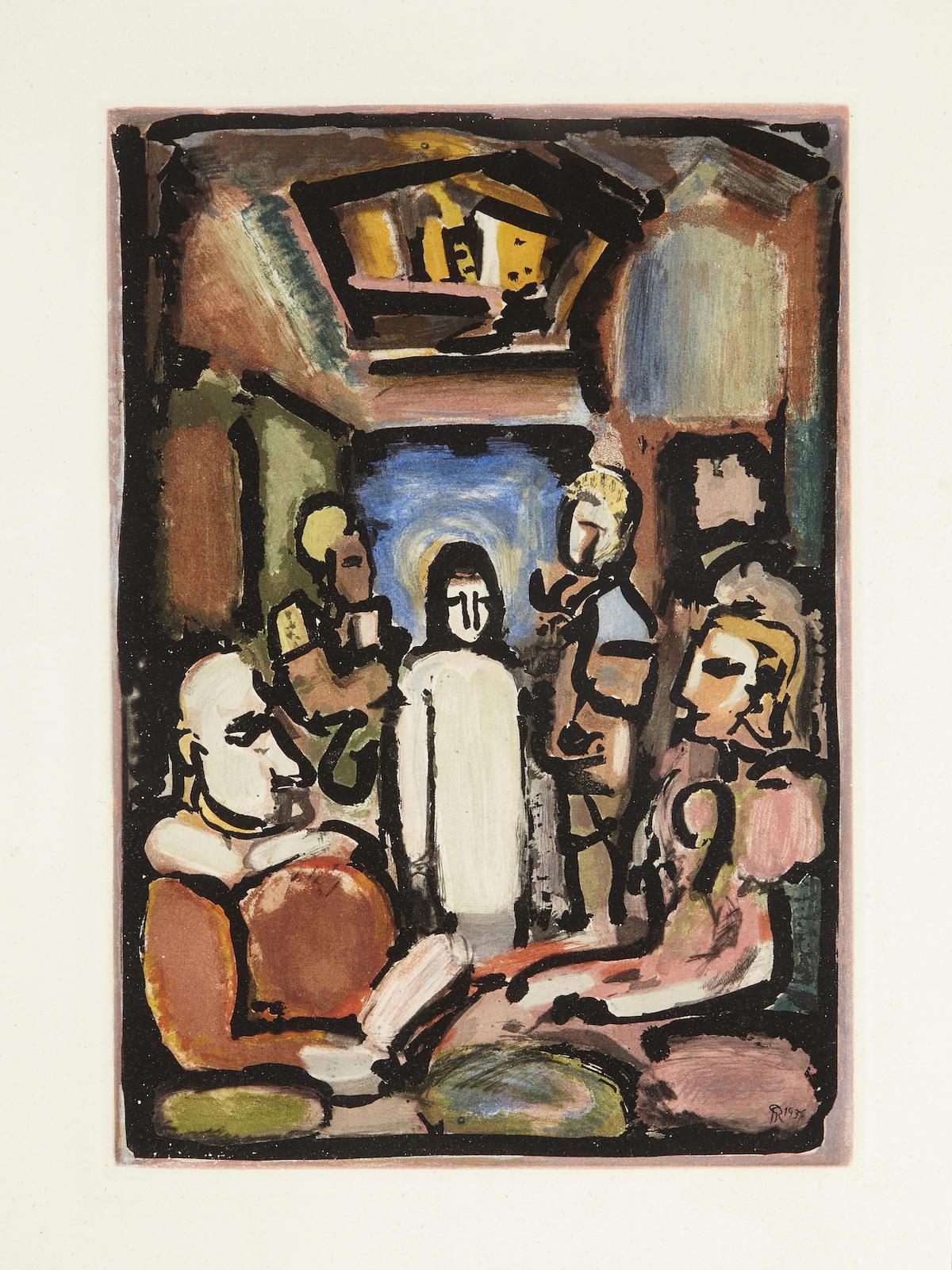 Georges Rouault-Christ et les Exegetes, pl. 15, from Passion (C./R. 271)-1939