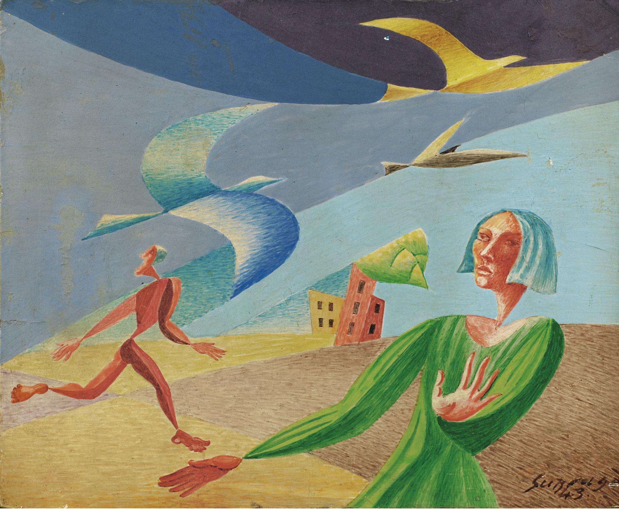 Leopold Survage-Composition Aux Oiseaux-1943