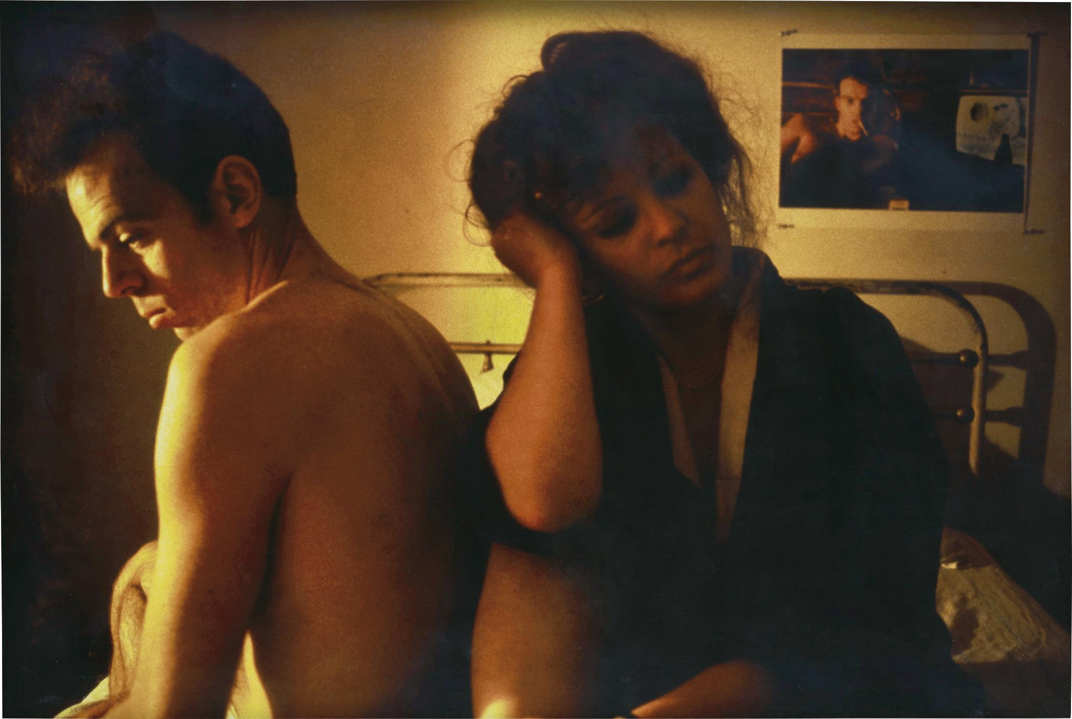 Nan Goldin-Self Portrait in Kimono with Brian, NYC-1983