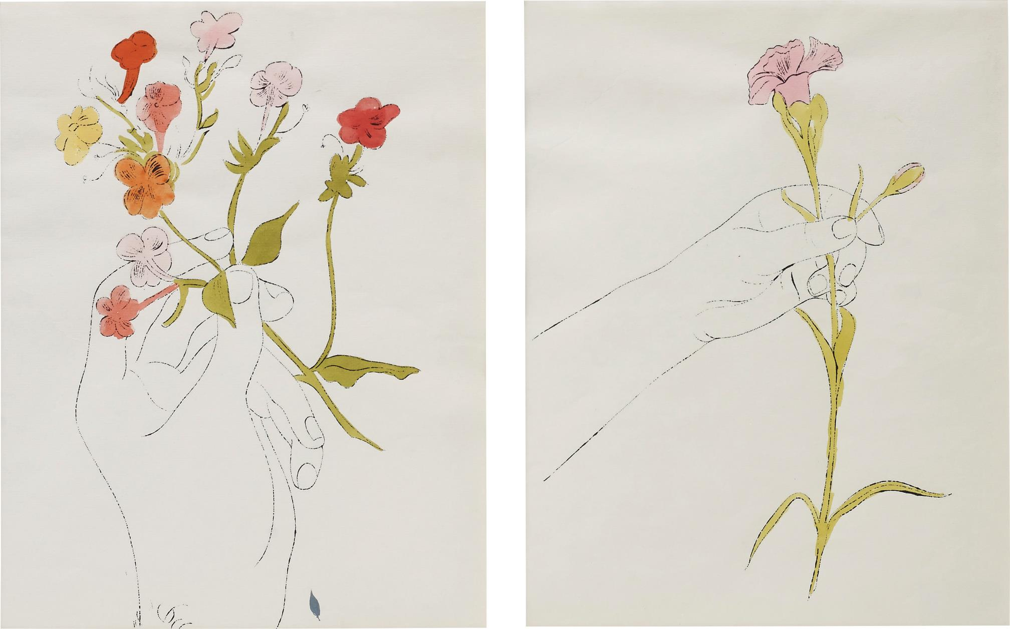Andy Warhol-Hand with Flowers and Carnation/Diptychon-1961