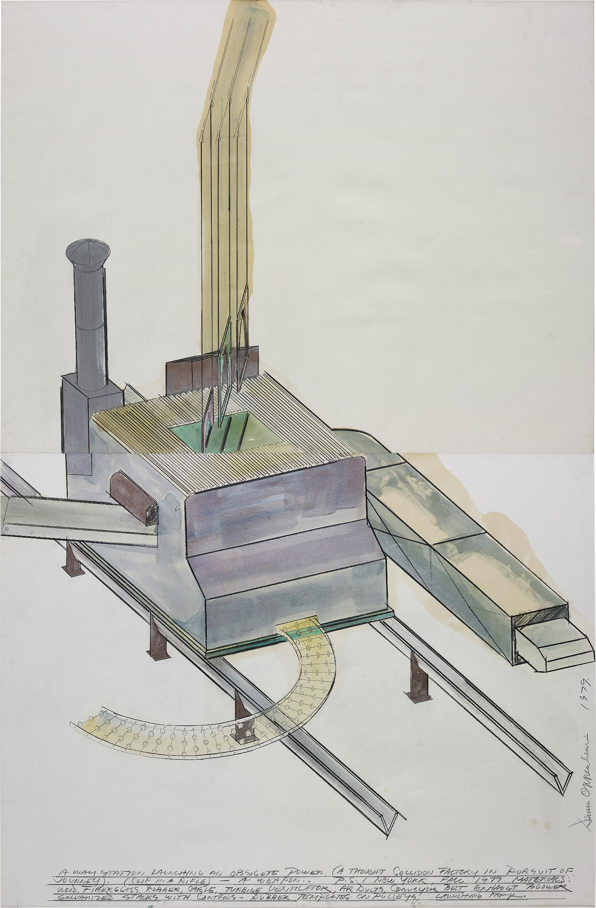 Dennis Oppenheim-A Way Station Launching an Obsolete Power (A Thought Collision Factory in Pursuit of a Journey) (A Clip in a Rifle - a Weapon)-1979