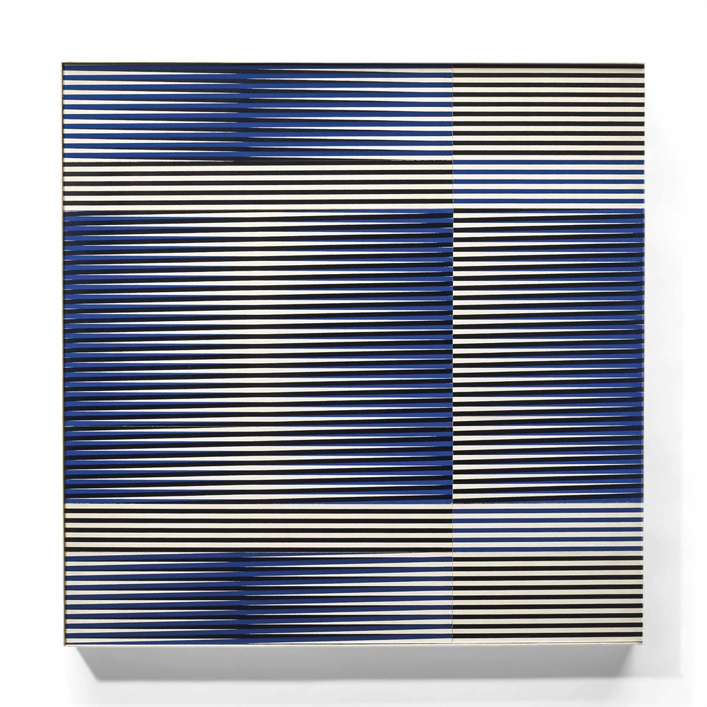 Carlos Cruz-Diez-Induction Chromatique N°42 Bleu + Noir + Blanc = Jaune-1972
