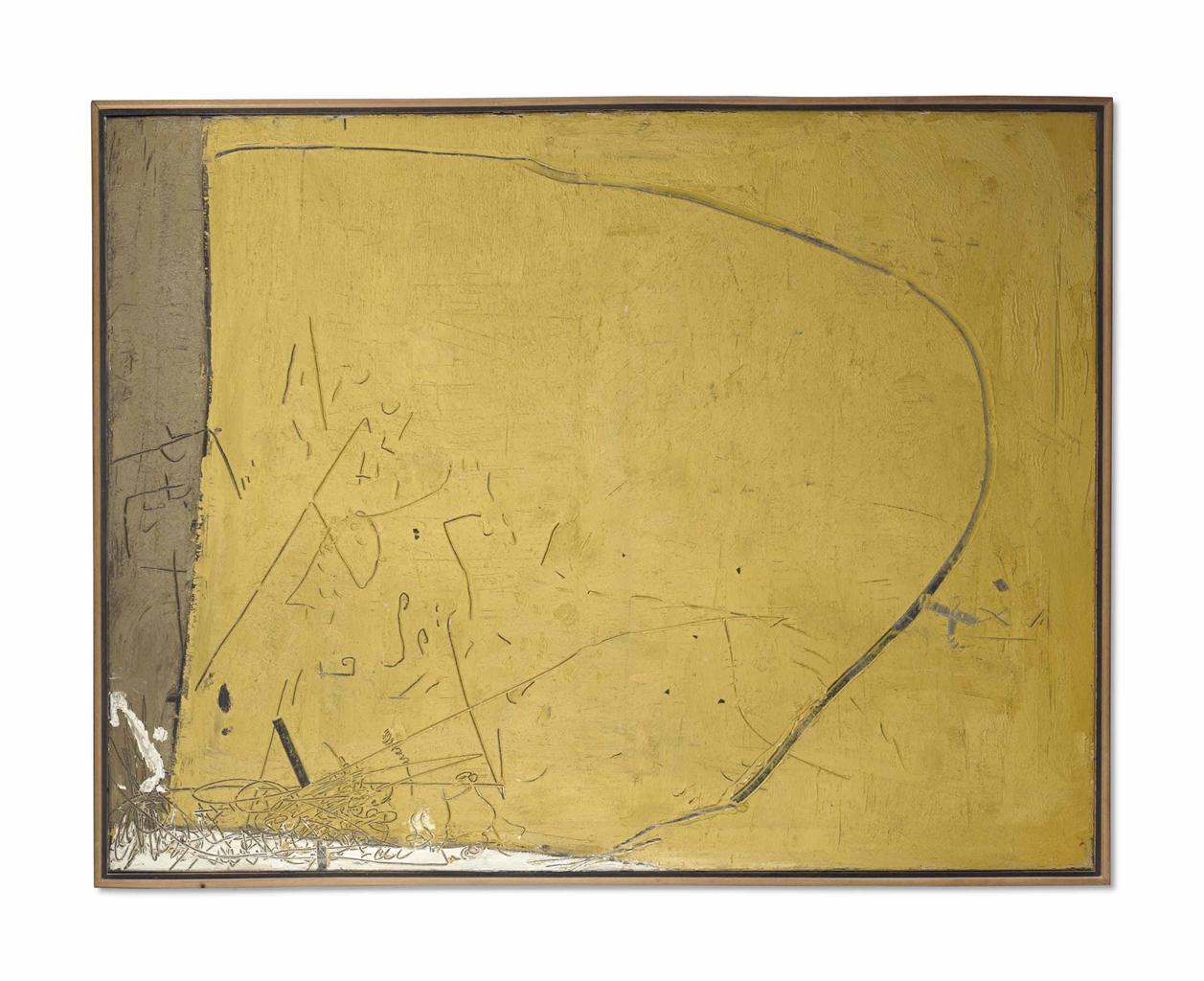 Antoni Tapies-Peinture Jaune No. Xxiv-1955