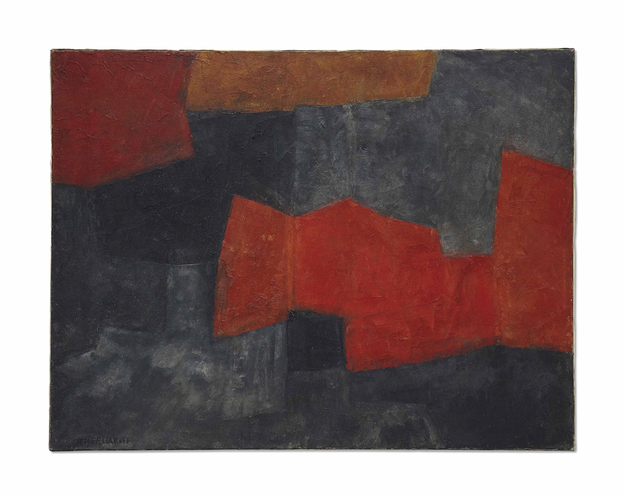 Serge Poliakoff-Composition Abstraite Gris, Orange Et Rouge-1964
