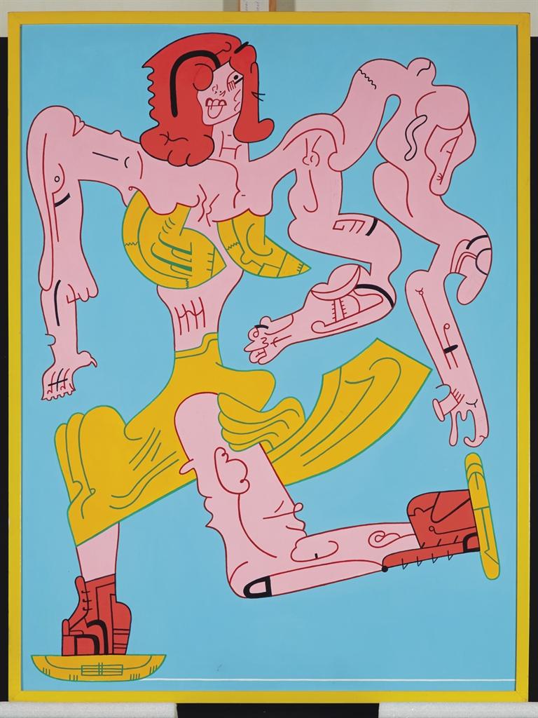 Karl Wirsum-Untitled (Skaters: Red Hair)-1991