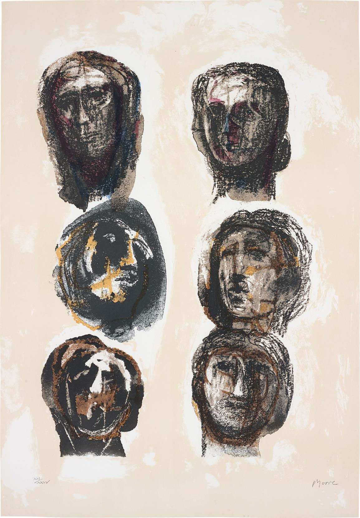 Henry Moore-Six Heads Olympians-1982