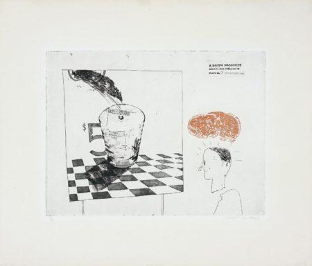 David Hockney-Disintegration, pl. 7 from A Rake's Progress-1963