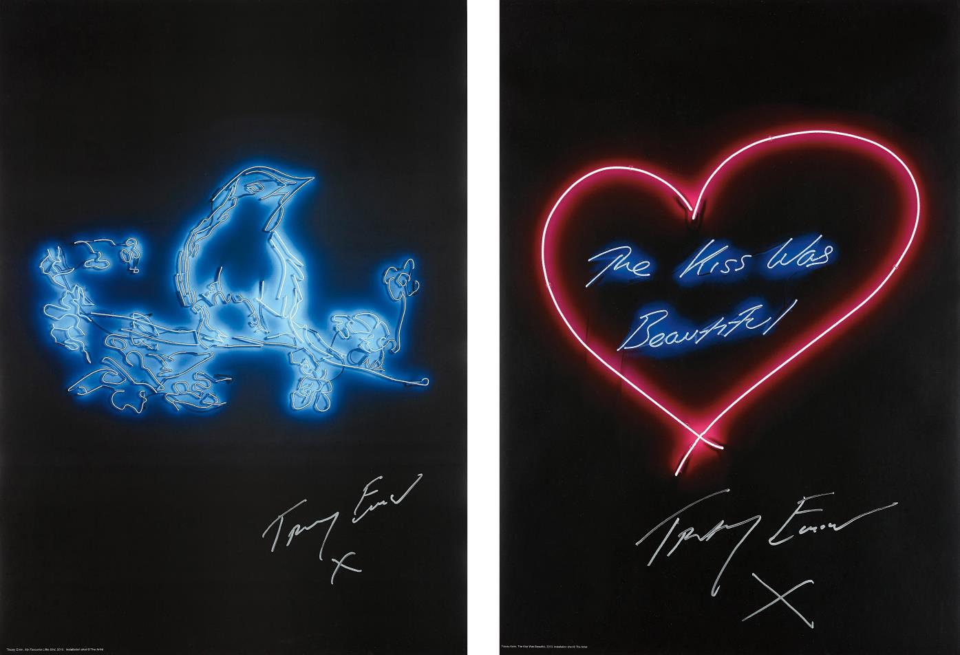 Tracey Emin-My Favourite Little Bird; and The Kiss was Beautiful-2016