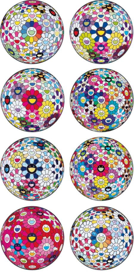 Takashi Murakami-Flowerball: Want to Hold You; Awakening; Open Your Hands Wide; Thoughts on Matisse; The Flowerball's Painterly Challenge; Flowerball Multicolor; Thoughts on Picasso; and Scenery with a Rainbow in the Midst-2015