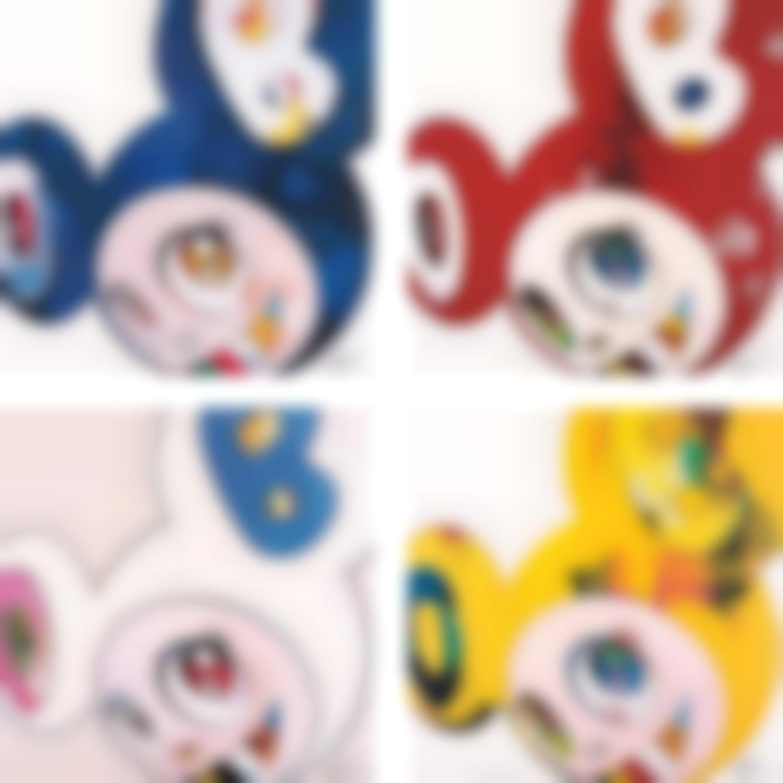 Takashi Murakami-And Then x 6 (Blue: The Superflat Method); And Then x 6 (Red: The Superflat Method); And Then x 6 (White: The Superflat Method, Pink and Blue Ears); and And Then, And Then And Then And Then And Then. Yellow Universe-2013