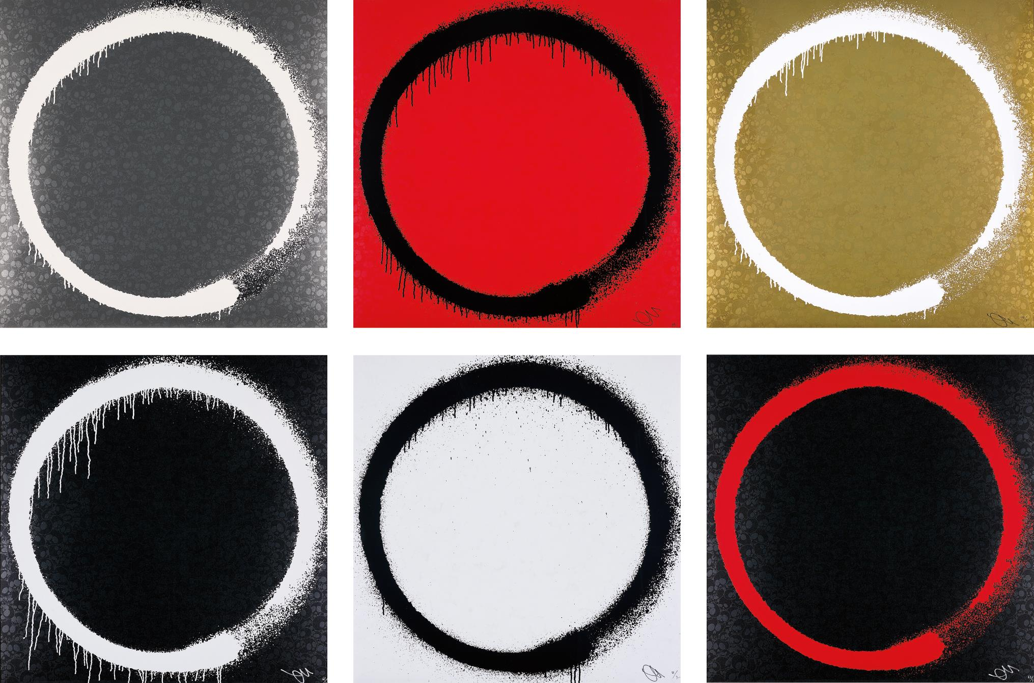 Takashi Murakami-Agama; Enso: The Heart; Amitabha Buddha; Enso: Intellection; Enso: Tranquility; and Enso: Earthly Desires-2015