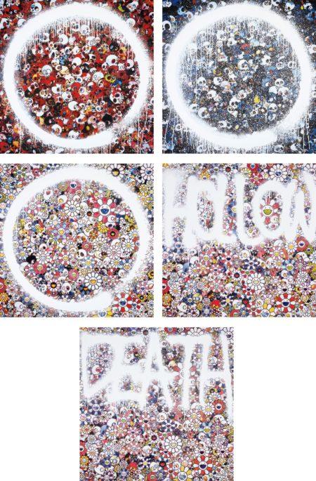 Takashi Murakami-Enso: Memento for Red; Memento Mori Red on Blue; Enso: Zen The Heavens; Flower HOLLOW; and DEATH Flower-2015