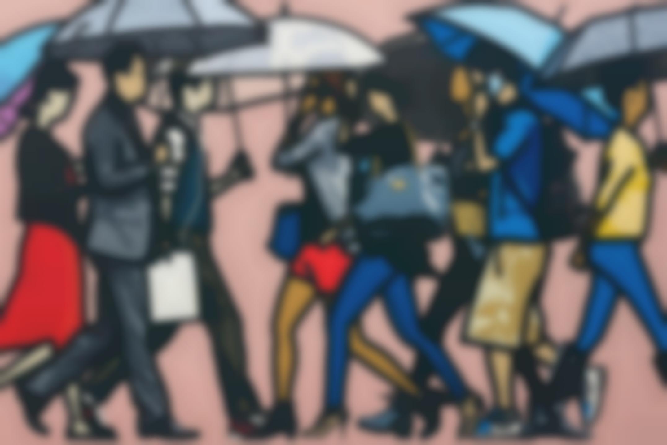 Julian Opie-Walking in the Rain, Seoul-2015
