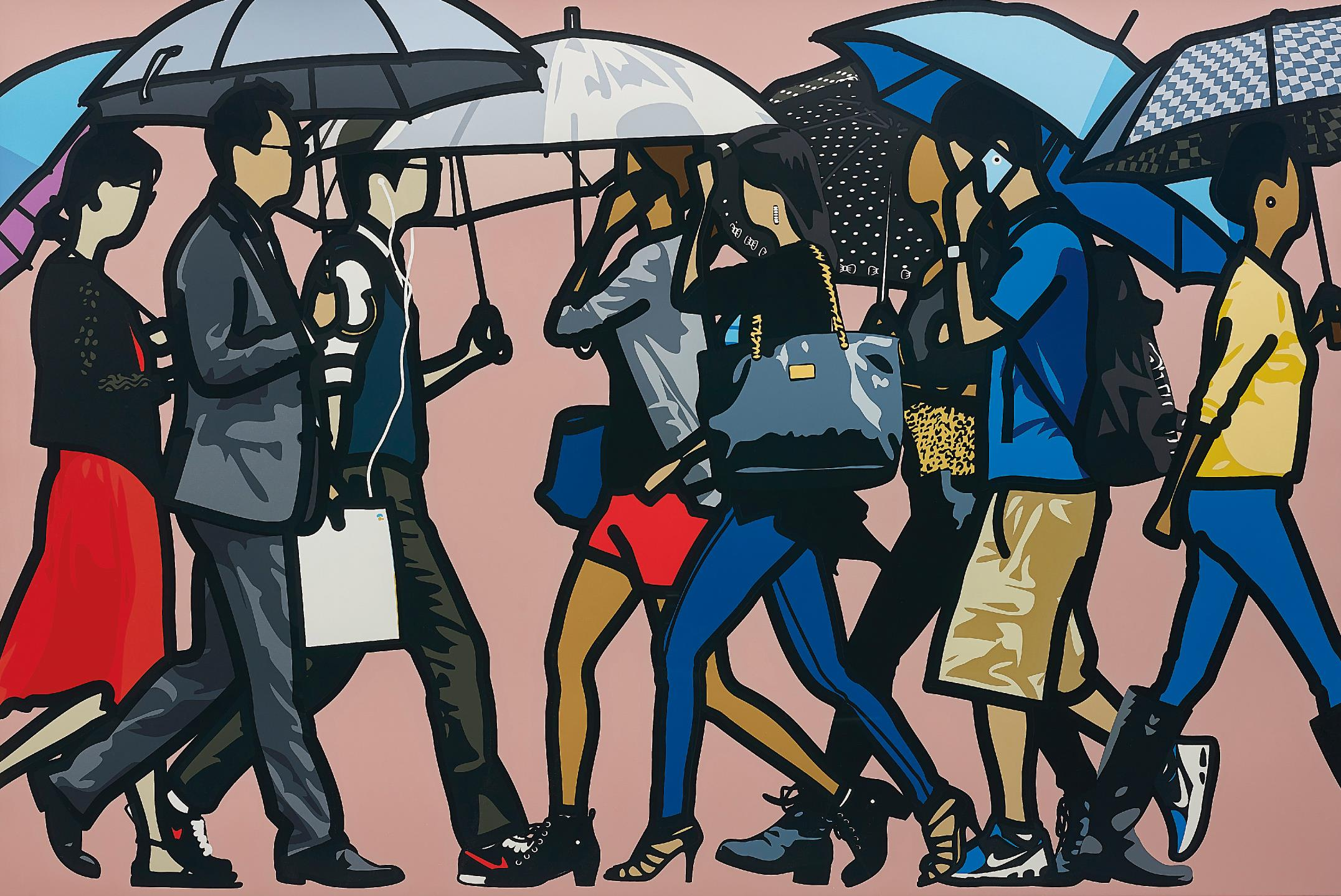 Julian Opie-Walking in the Rain, Seoul-2015