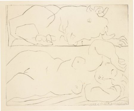 Pablo Picasso-Minotaure contemplant amoureusement une dormeuse (Minotaur Tenderly Admiring a Sleeping Woman)-1933