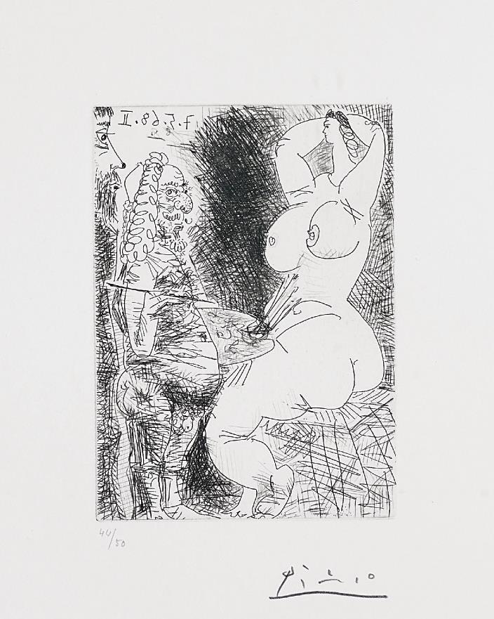Pablo Picasso-Vieux Peintre, Modele et Spectateur (Old Painter, Model and Spectator), pl. 68 from Series 347-1968