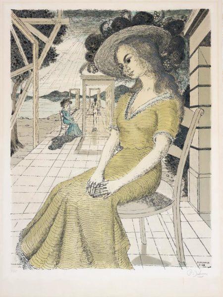 Paul Delvaux-Anne songeuse (Pensive Anne)-1966