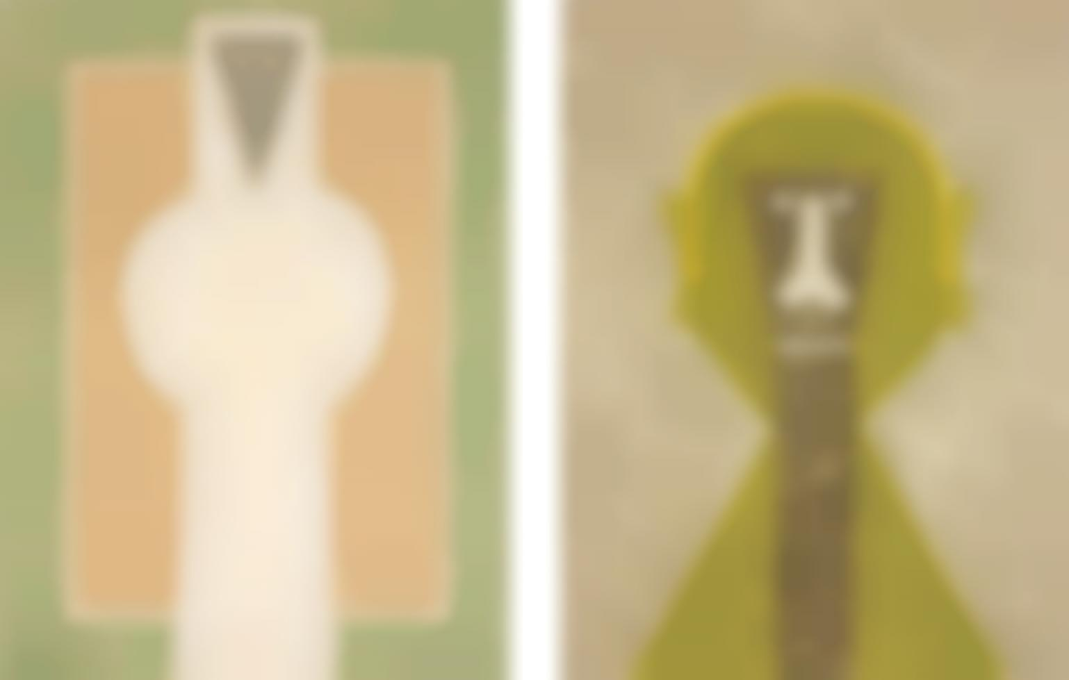 Rufino Tamayo-Personaje Blanco (White Person); and Cabeza en Amarillo (Head in Yellow)-1976
