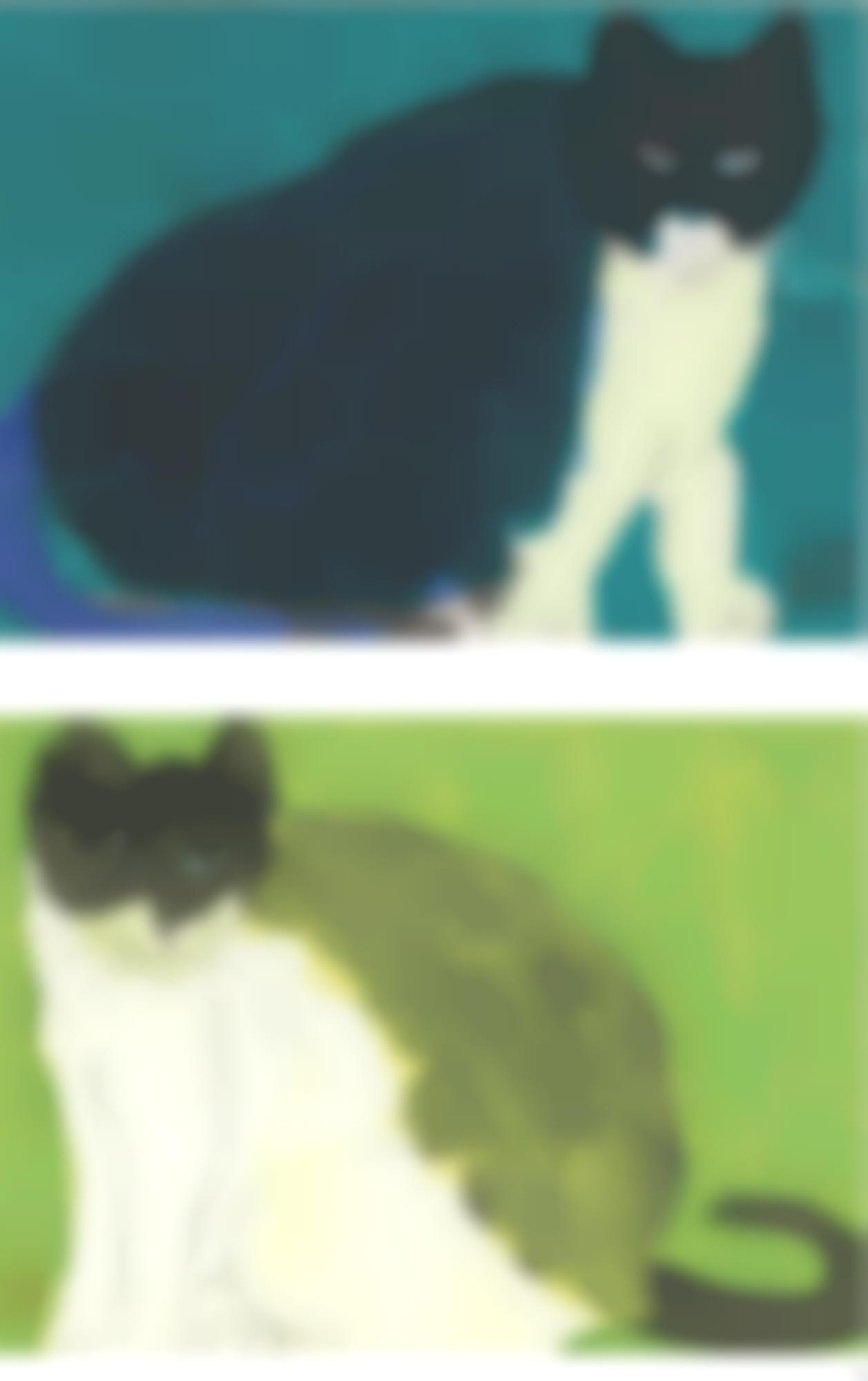 Walasse Ting-(i) A Blue Cat; (ii) A Green Cat (Two Works)-1986