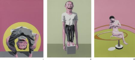 Yue Minjun-(i) Untitled; (ii) How Are You Bacon; (iii) Looking At The World (Three Works)-2000